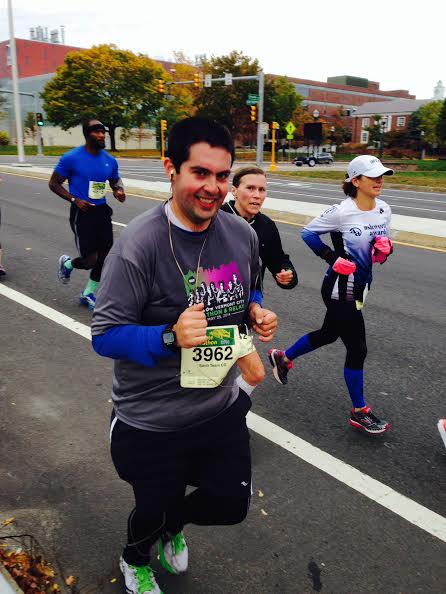 Santiago finishing his half marathon strong!