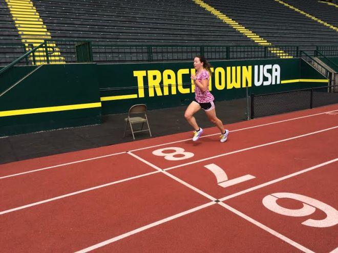 running around Hayward Field!
